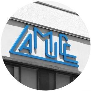 rótulo logotipo LAMUCE